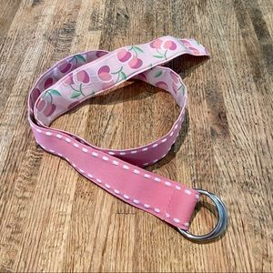 Reversible pink cherry print belt adjustable fit